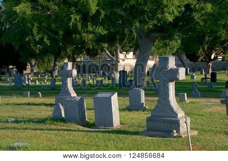 April 3 2016: Photo of Mission San Gabriel Arcangel cemetery which is located in San Gabriel Californa USA.