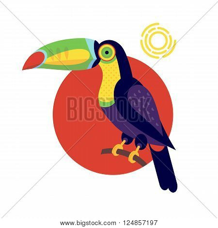 Toucan. Vector image of a flat figure bird. Simplified design of bird from the wild. Graphic illustration of colored exotic bird isolated on white background. Unusual bird.