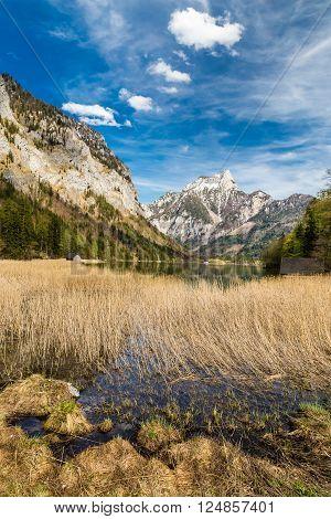 Lake In Salzkammergut Area With Alps Mountain Range In The Background - Salzkammergut Austria Europe