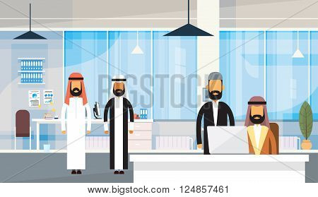 Arab People Businessman Group Traditional Clothes Arabic Business Office Workplace Flat Vector Illustration