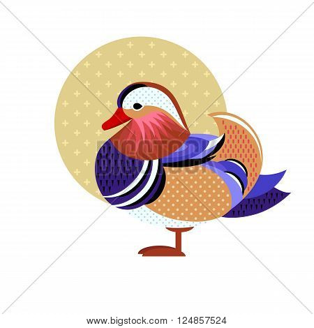 Mandarin Duck. Vector image of a flat figure bird. Simplified design of bird from the wild. Graphic illustration of colored exotic bird isolated on white background. Water bird.