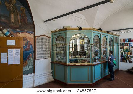 Tutaev, Russia - March 28, 2016.  Sales of Icons in the Resurrection Cathedral