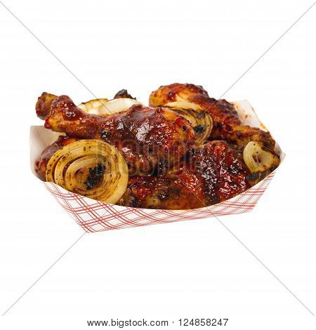 Barbecue Buffalo Chicken Drumsticks Isolated on white. Selective focus.