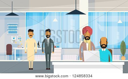 Indian People Businessman Group Traditional Clothes India Business Office Flat Vector Illustration