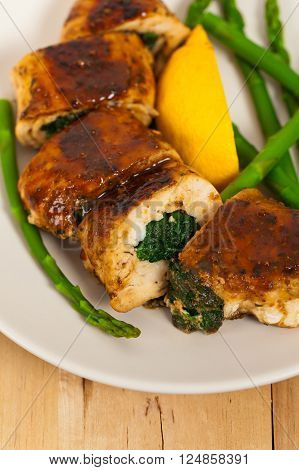 Homemade Chicken Stuffed With Spinach. Selective focus.