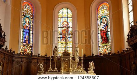 Eguisheim France - june 19 2015 : the saint leon chapel build in 1888