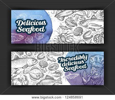 seafood. design menu template for restaurant or cafe. vector illustration