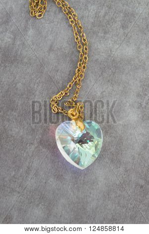 Blue Topaz Aquamarine Diamond Heart Pendant, Necklace With Chain Isolated On White