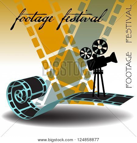 Abstract colorful background with film strips, movie projector and the text footage festival written with handwritten letters
