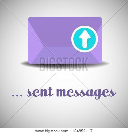 Isolated purple envelope with arrow sign pointing upwards. Sent messages concept