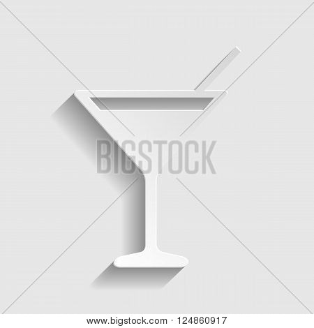 Coctail sign. Paper style icon with shadow on gray.