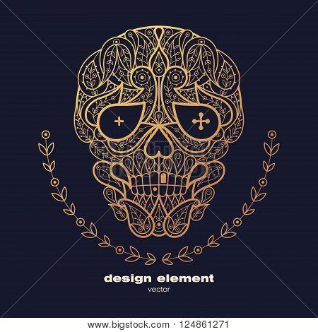 Vector design element - skull. Icon decorative skull isolated on black background. Modern decorative illustration. Template for creating logo emblem sign poster. Concept of gold foil print.