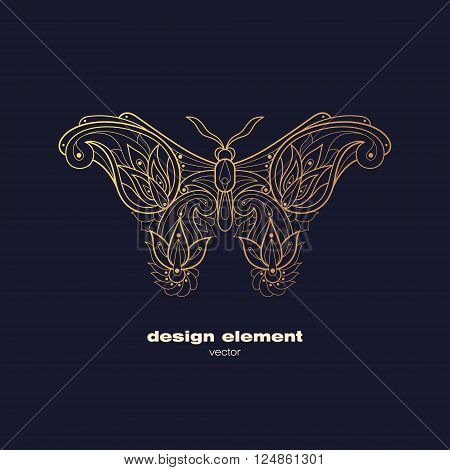 Vector design element - butterfly. Icon decorative insect isolated on black background. Modern decorative illustration insect. Template for logo emblem sign poster. Concept of gold foil print.