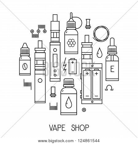Vector illustration of vape and accessories for vape shop, e-cigarette store. Vape icons set Isolated on white background.