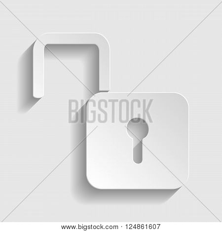 Unlock sign. Paper style icon with shadow on gray.