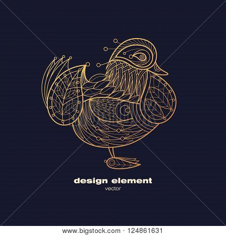 Vector design element - mandarin duck. Icon decorative bird isolated on black background. Modern decorative illustration animal. Template for logo emblem sign poster. Concept of gold foil print.