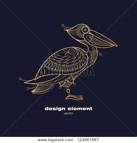 Vector design element - pelican. Icon decorative bird isolated on black background. Modern decorative illustration animal. Template for creating logo emblem sign poster. Concept of gold foil print.