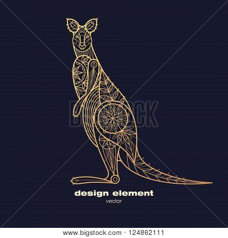 Vector design element wallaby. Icon decorative animal isolated on black background. Modern decorative illustration animal. Template for creating logo emblem sign poster. Concept of gold foil print.
