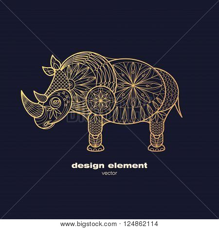 Vector design element - rhino. Icon decorative animal isolated on black background. Modern decorative illustration animal. Template for creating logo emblem sign poster. Concept of gold foil print.