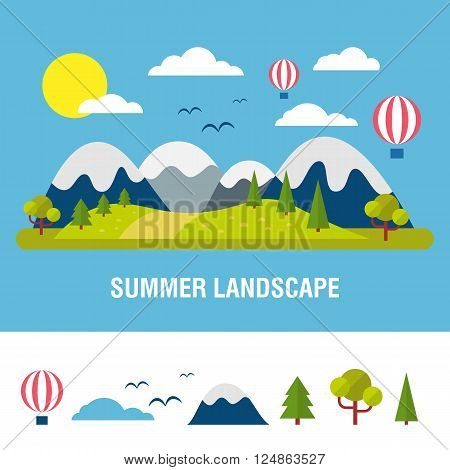 Summer  landscape background. Flat mountains vector with island. Outdoor landscape tourism. Nature landscape. Bright flat river and island with hills and forest isolated object in white background