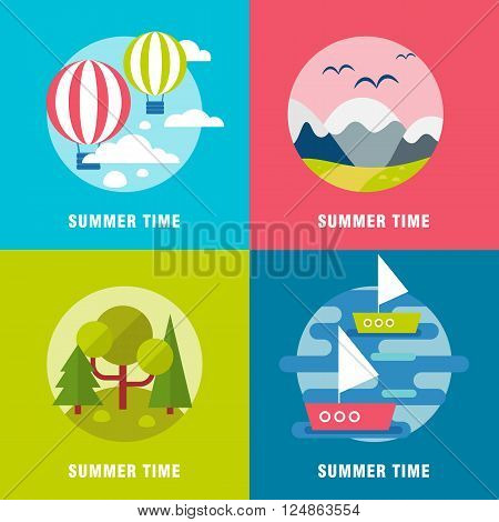 Summer  landscape background banners. Flat mountains vector with island. Outdoor landscape tourism. Nature landscape. Bright flat river and island with hills and forest for web text banners