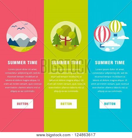 Summer  landscape background banners. Flat mountains vector with island. Outdoor landscape tourism. Nature landscape. Bright flat flyers and island with hills and forest for web text banners