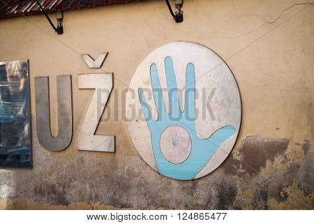 VILNIUS, LITHUANIA - JULY 16: Uzupis republic sign. Uzupis is an autonomous artistic community in Vilnius. July 2015