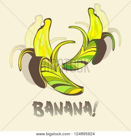 Vector illustration of half peeled banana. Banana in a retro style. EPS 10
