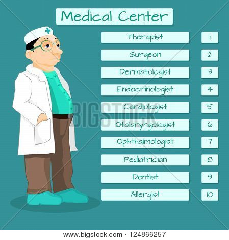 List of medical specialists. Schedule of different doctors at the health center.