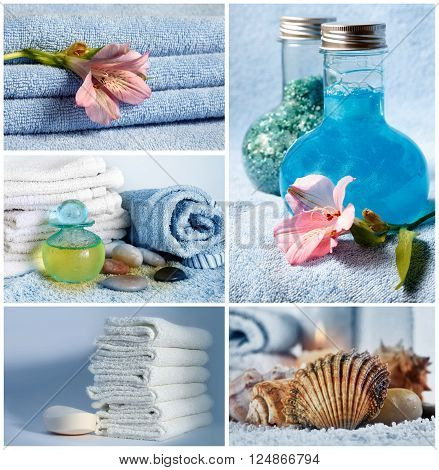 Spa Collage Composition of 4 Spa Photos with Scent Candles. Soft Towels and Aromatherapy