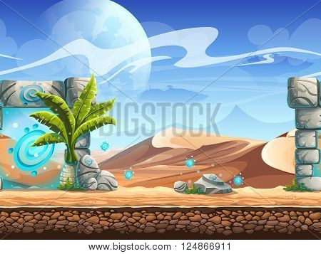 Seamless desert with palms and a magical portal. For newspapers magazines web design flyers websites printing