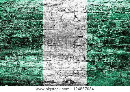 Nigeria flag with some soft highlights and folds