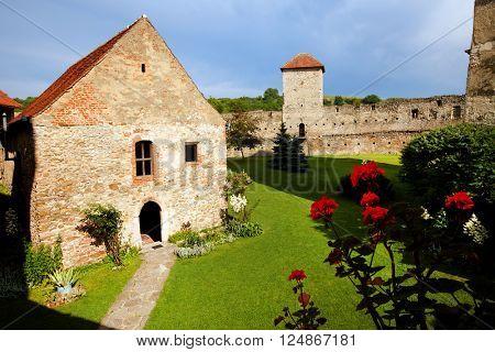 Architectural detail of Calnic Medieval Fortress, Transylvania, Romania - UNESCO heritage landmark