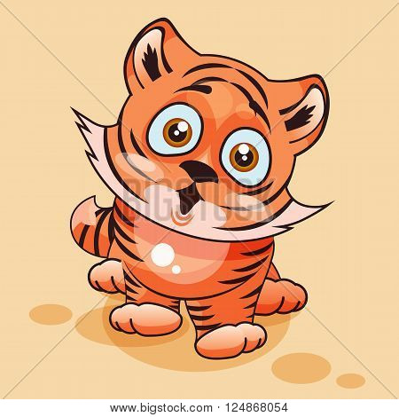 Vector Stock Illustration isolated Emoji character cartoon Tiger cub surprised with big eyes sticker emoticon for site, infographics, video, animation, websites, e-mails, newsletters, reports, comics