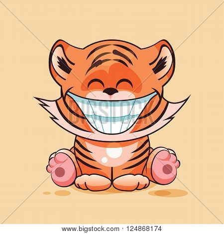 Vector Illustration isolated Emoji character cartoon Tiger cub with huge smile from ear to ear sticker emoticon for site, infographic, video, animation, website, e-mail, newsletter, report, comic