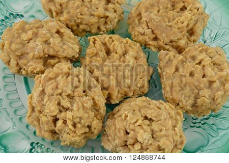 Close up of peanut butter oatmeal cookies