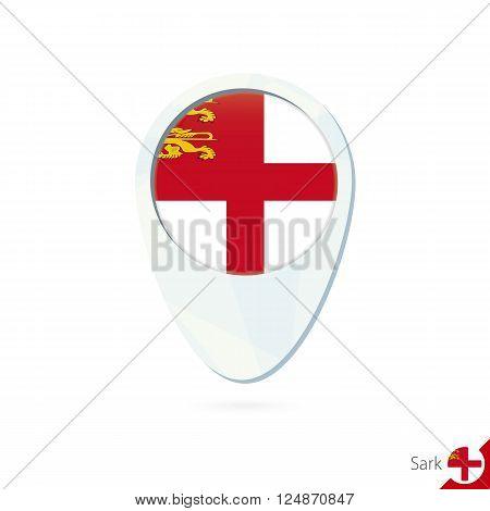 Sark Flag Location Map Pin Icon On White Background.