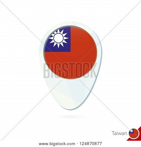 Taiwan Flag Location Map Pin Icon On White Background.