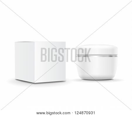 White blank cosmetic Cream cream container and  packaging box. Vector illustration