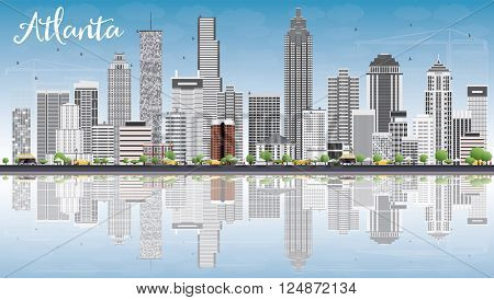 Atlanta Skyline with Gray Buildings, Blue Sky and Reflections. Vector Illustration. Business Travel and Tourism Concept with Modern Buildings. Image for Presentation Banner Placard and Web Site.