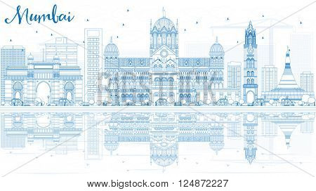 Outline Mumbai Skyline with Blue Landmarks and Reflections. Vector Illustration. Business Travel and Tourism Concept with Historic Buildings. Image for Presentation Banner Placard and Web Site.