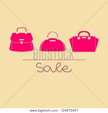 Colorful pink female handbags illustration with sale