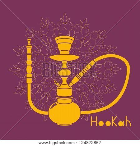 Purple hookah illustration isolated on ornament background
