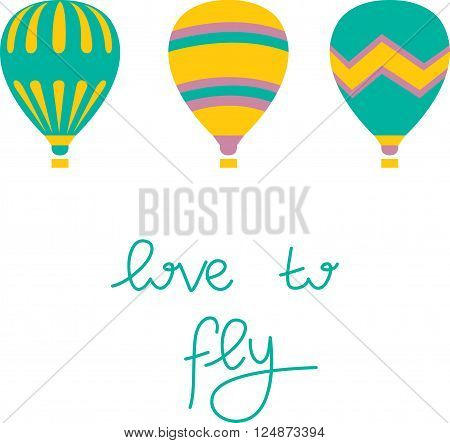 Vector colorful air balloon on white background