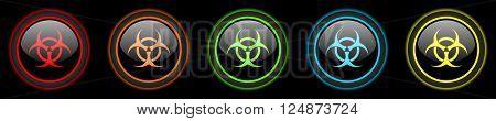 biohazard colored web icons set on black background