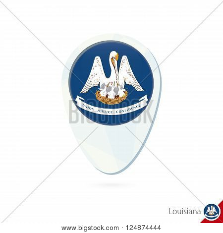 Usa State Louisiana Flag Location Map Pin Icon On White Background.