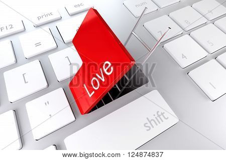 keyboard red enter key open revealing underpass and ladder love