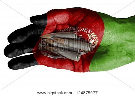Adult Hand With Afghanistan Flag Overlaid Holding Bullets. Isolated On White