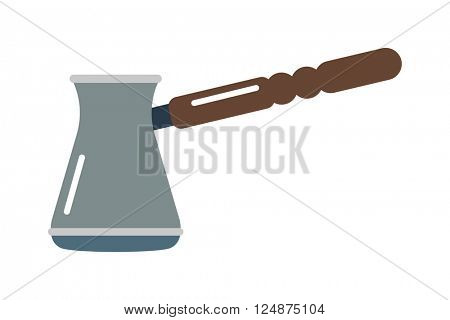 Ibrik cezve for coffee pot beverage caffeine breakfast vector illustration.