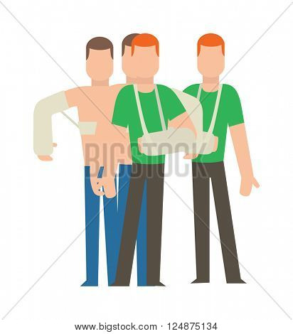 Multiple injury set trauma accident and human body safety vector people silhouette.